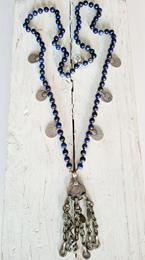 Collar lapis y monedas  | CO-O1625 | Bohemian Barcelona, freespirit, lifestyle.
